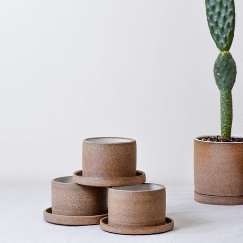 Vases & Vessels by Stone + Sparrow seen at Creator's Studio, Pittsburgh - Brown Speckled Stone Planters