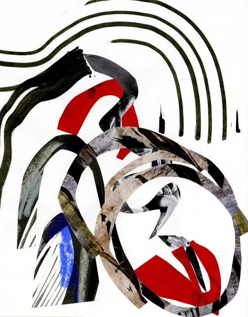 "Paintings by K'era Morgan seen at Creator's Studio, Los Angeles - ""Untitled - Black, White, Red, Cobalt"""