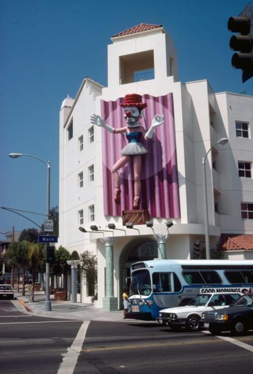 Sculptures by Jonathan Borofsky seen at CVS Pharmacy, 255 Main Street, Los Angeles - Ballerina Clown
