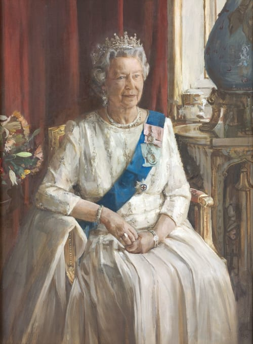 Paintings by Christian Furr seen at The Royal Over-Seas League, London - Christian Furr's portrait of Queen Elizabeth II