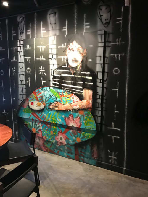 Murals by David Choe seen at Momofuku Ko, New York - Boy Mural