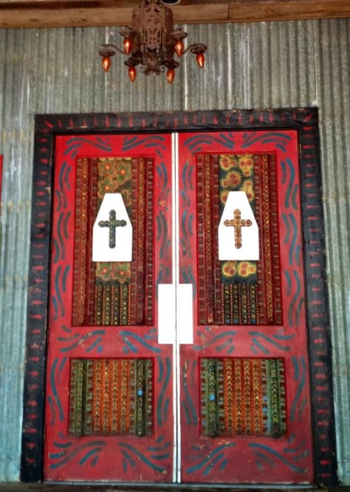 Furniture by Howard Finster seen at House of Blues Orlando, Lake Buena Vista - Folk Art Decorated Doors