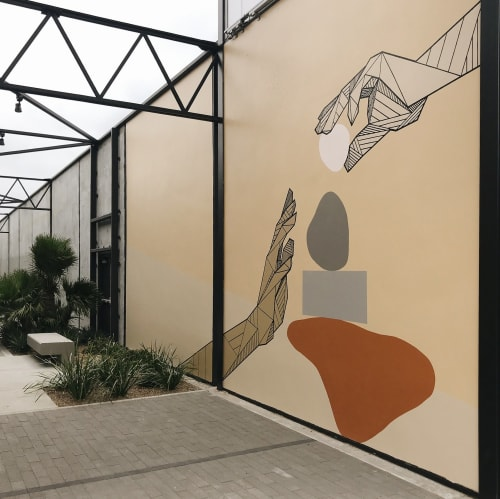 Murals by Allison Kunath seen at 555 aviation, El Segundo - Build