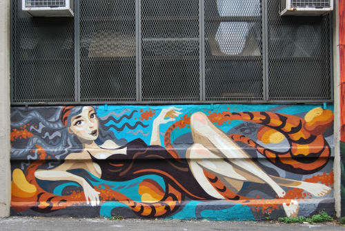 Street Murals by YU-BABA seen at Queens, New York, Queens - Swimmer