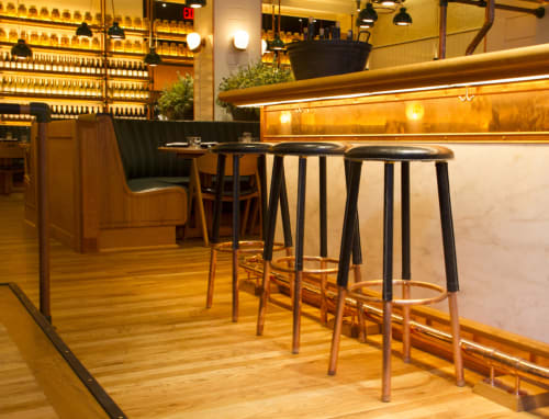 Chairs by Roman and  Williams seen at Upland, New York - Custom Bar Stools