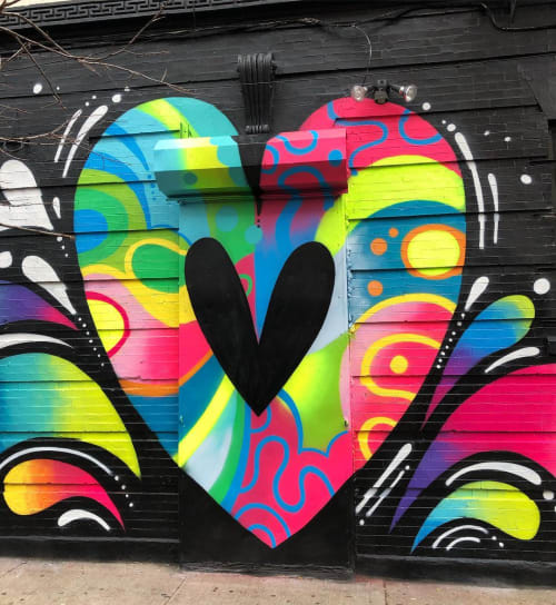 Street Murals by Jason Naylor seen at Cocoa Grinder, Brooklyn - Heart on Hart