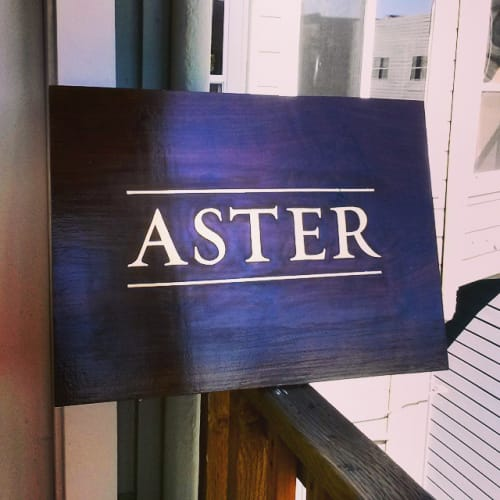 Signage by Gentleman Scholar Signs seen at Aster, San Francisco - Wood Sign
