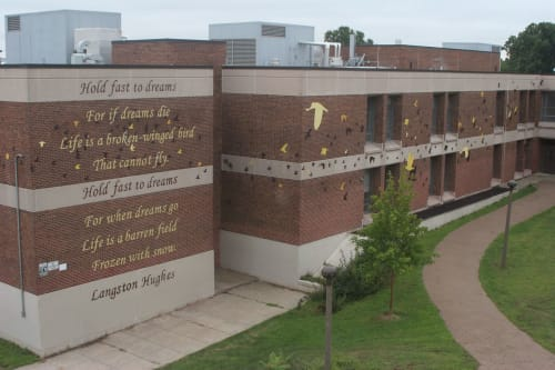 Murals by Phillip Adams seen at Martin Luther King High School, Philadelphia - Dreams