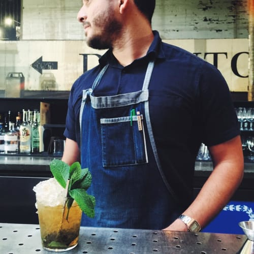 Aprons by Matt Dick - Small Trade Company seen at Bar Agricole, San Francisco - Pinstriped Denim Apron