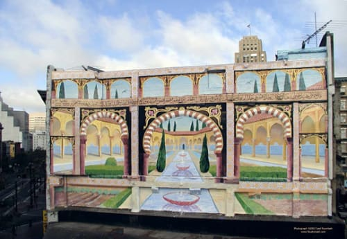 Street Murals by Fayeq Oweis seen at Market Street, SF, San Francisco - The Oasis Comes to San Francisco