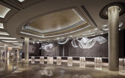 Sculptures by Nikolas Weinstein seen at Borgata Hotel Casino & Spa, Atlantic City - Front Desk Glass Sculptures