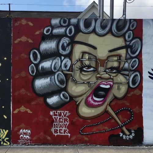 Street Murals by Aaron Darling seen at Lustre Pearl East, Austin - Northern Martha Moneysacks Mural