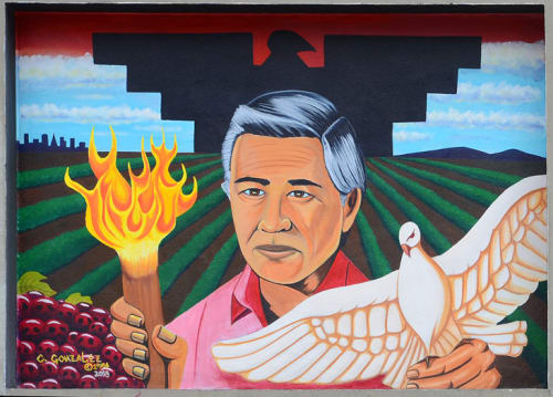 "Murals by Carlos ""Kookie"" Gonzalez seen at Cesar Chavez Student Center, San Francisco - Cezar Chavez"