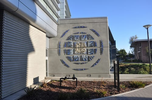 Murals by Natalie Blake Studios seen at Chabot College, Hayward - Blue Ripple Mandala