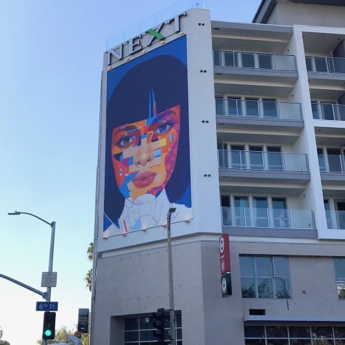 Murals by Samuel Rodriguez aka Sam Rodriguez seen at Next on Sixth Apartments, Los Angeles - Next