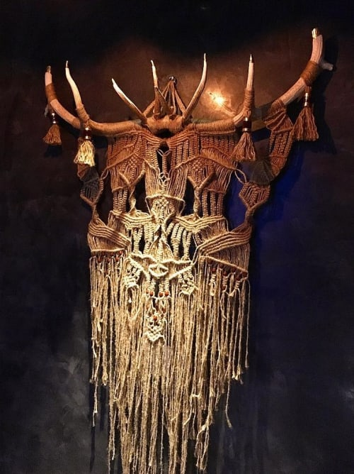 Macrame Wall Hanging by Free Creatures seen at EAST, Miami, Miami - Wall Hanging  Macrame with Elk Antlers