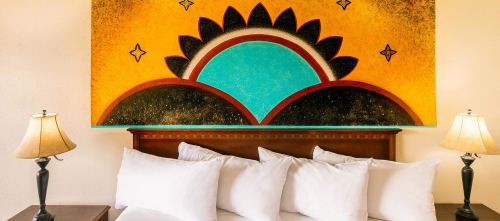 "Murals by Estella Loretto seen at Nativo Lodge, Albuquerque - ""The Gift of a New Dawn"""