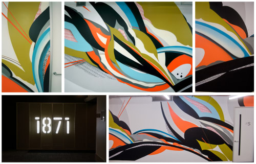 Murals by Ruben Aguirre seen at 1871 West Merchandise Mart Plaza, Chicago, IL, Chicago - Momentum as one