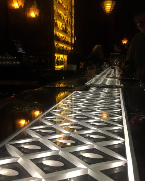 Furniture by Philippe Starck seen at Redwood Room, San Francisco - Etched Glass Bar