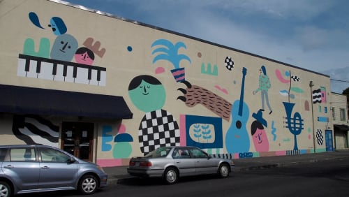 Murals by Ryan Bubnis Studio seen at Aladdin Theater, Portland - Mural