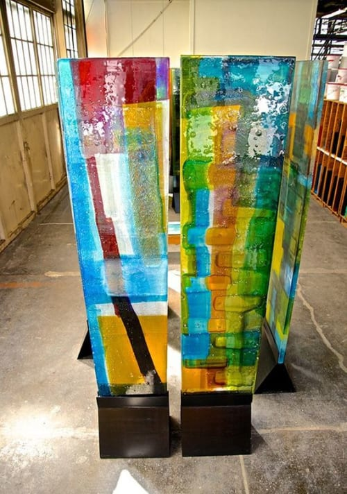 "Sculptures by Walter Gordinier seen at Uroboros Glass Studio, North Kerby Avenue, Portland, Oregon, Portland - ""Enclosure"""