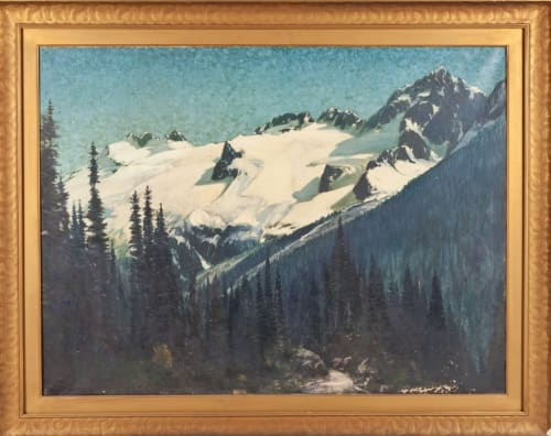 Paintings by Henry Joseph Breuer seen at Mills College Art Museum, Oakland - Forest and Snowcapped Mountains