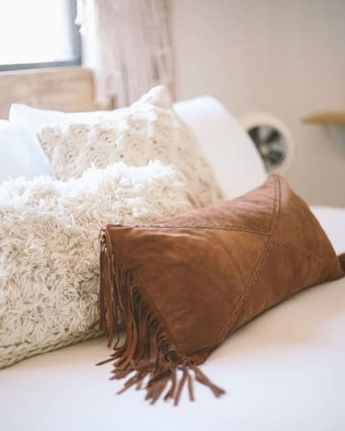 Pillows by Amber Seagraves seen at The Joshua Tree Casita, Joshua Tree - Axel Fringe PIllow