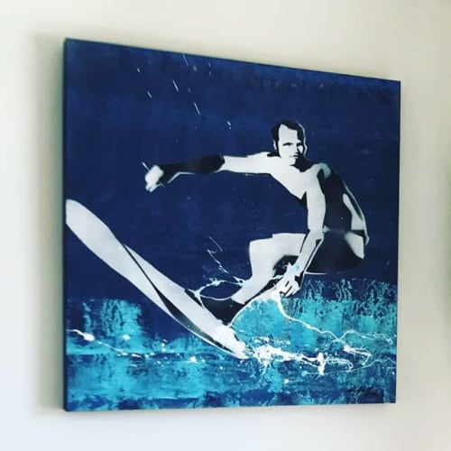 Paintings by Kathleen Keifer seen at Malibu Beach House, Malibu - Surfrider Beach Surfer