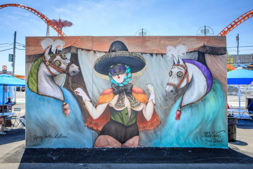 Street Murals by Miss Van seen at Coney Island, Brooklyn - Gypsy with Stallions