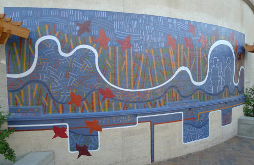 Murals by Martin Webb seen at Regional Water Quality Control Plant and Household Hazardous Waste Station. Palo Alto, CA., Palo Alto - Riding The Currents