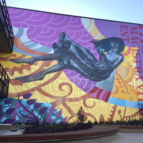 Street Murals by John Park seen at 350 Camino De La Reina, San Diego - Historia, Futuro