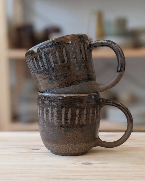 Cups by Ceramicsbytiz seen at Private Residence - Black Clay Coffee Mugs