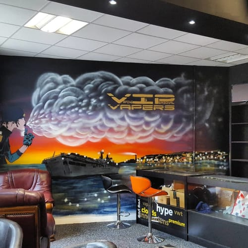 Murals by 7th Pencil seen at VIP Vapers, Plymouth - Mural