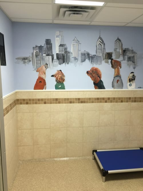 Murals by Jaimee Newman seen at K9 Resorts of Horsham PA, Horsham - Skyline Mural