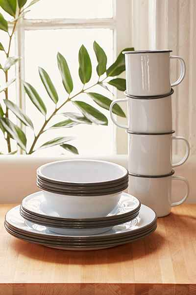 Tableware by Crow Canyon Home at The Joshua Tree Casita, Joshua Tree - Black-and-White Enamelware