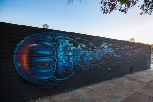 Street Murals by Steven Daily Studios seen at SILO in Makers Quarter, San Diego - Jellyfish Mural