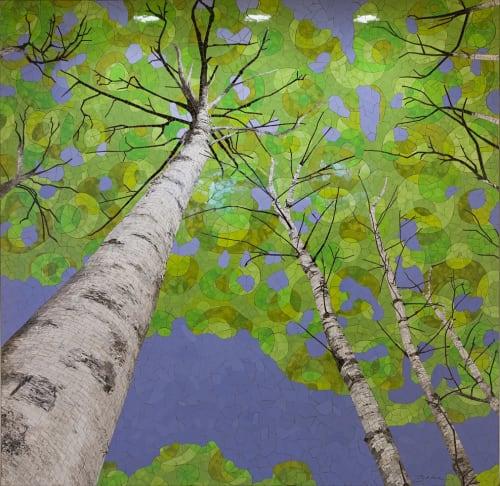 Murals by Bebe Keith seen at Minneapolis–Saint Paul International Airport (MSP) - Birches in Springtime