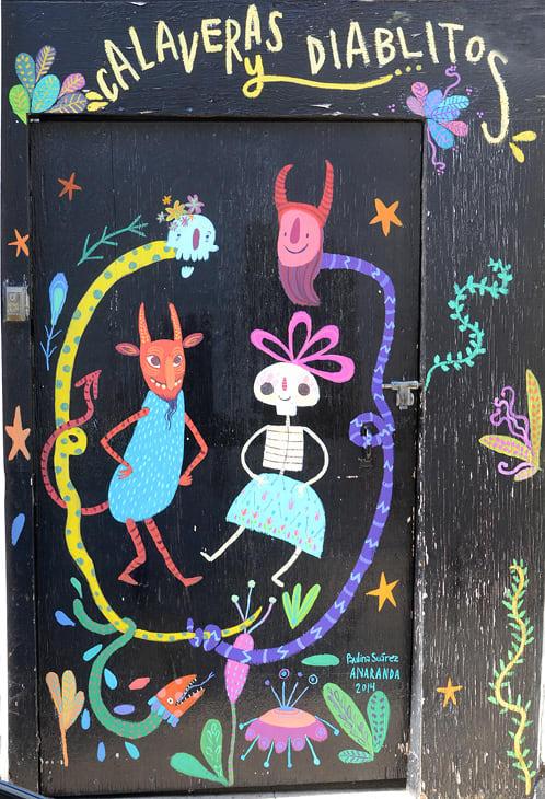 Street Murals by Paulina Suarez seen at Lucky Street, San Francisco - Calaveras y Diablitos