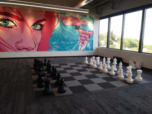 Murals by James Haunt seen at GoPro, San Mateo, CA, San Mateo - Pink Lady