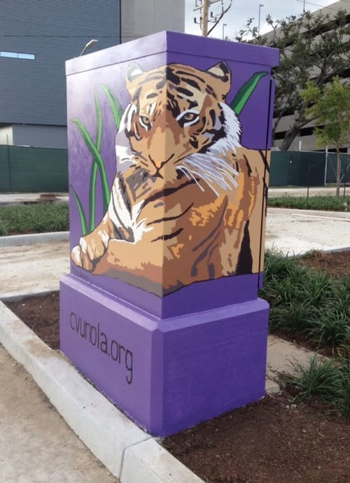 Street Murals by Robin Daning seen at LSU Health New Orleans, New Orleans - Tiger Mural
