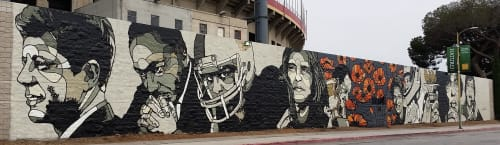 Murals by David Flores seen at LA Memorial Coliseum, Los Angeles - World Stage