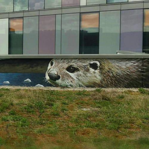 Street Murals by Rogueoner seen at Loch Lomond & The Trossachs National Park, Balloch - Loch Lomond Otter Mural