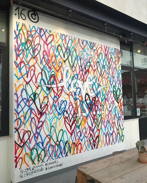 "Murals by JGoldcrown seen at Café Gratitude (Arts District), Los Angeles - Custom Mural ""Lovewall"""