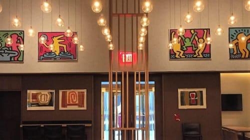 Paintings by Keith Haring seen at Aldo Sohm Wine Bar, New York - Pop Shop