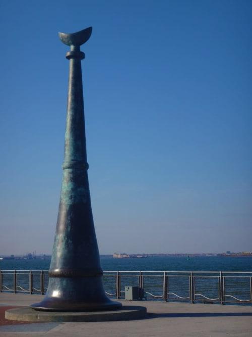 Public Sculptures by Robert Ressler seen at American Veterans Memorial Pier, Brooklyn - Beacon
