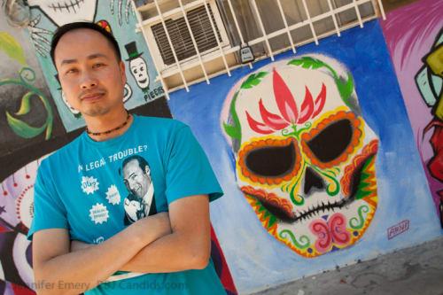 Murals by Arni Tecson seen at Mercado Hollywood, Los Angeles - Skull Mural