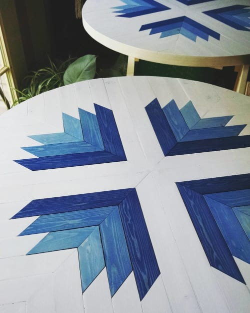 Tables by Roaming Roots at Sweetfin Poké, San Diego, San Diego - Gradient Blue/White Tabletops