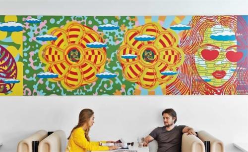 Murals by John Van Hamersveld seen at Vans HQ, Costa Mesa - Mural