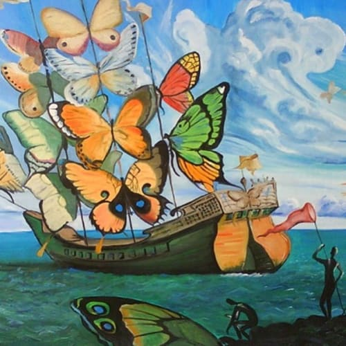 Paintings by Vladimir Kush seen at Petit Ermitage, West Hollywood - Departure of the Winged Ship