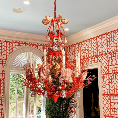Chandeliers by Christa Wilm seen at Private Residence, Palm Beach - Shell Chandelier